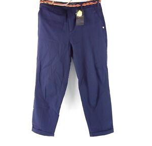 Maison Scotch Soda Femmes Pantalon de Chino Bleu W28 L32 Ceinture en Tissu Neuf