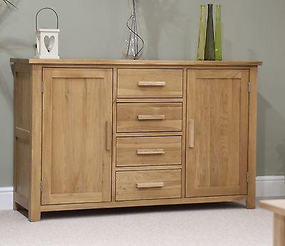 Nero solid oak furniture large storage sideboard with felt pads