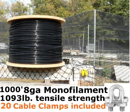 8GA Black Support Cable /& 20pk Cable Clamps 1000/' Monofilament Cable Wire Rope