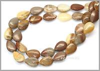 15.75 Brown Oregon Opal Flat Pear Beads 10x14mm 76087