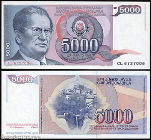 YUGOSLAVIA 5000 5,000 DINARA 1985 P 93 UNC