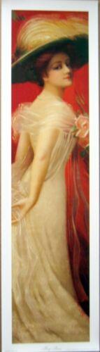 art print~MARY ANNA~ hat roses dress tall Victorian lady vtg repr yardlong 10x36