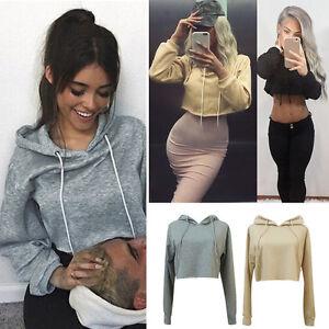 hot ladies cropped hoodie pullover sweatshirt top long. Black Bedroom Furniture Sets. Home Design Ideas