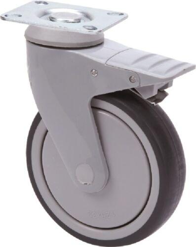 Conjunto de plástico apparaterollen 100 125 mm rodamientos de bolas de goma gris sin dejar rastro placa