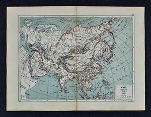 1885 Cortambert Map Physical Asia Himalayas Gobi Desert China Japan
