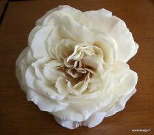 """Full 5.5"""" Cream Rose Silk Flower Hair Clip,Pin Up,Updo,Hat,Rockabilly,Bridal"""