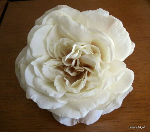 Full 5.5 Cream Rose Silk Flower Hair Clip,Pin Up,Updo,Hat,Rockabilly,Bridal