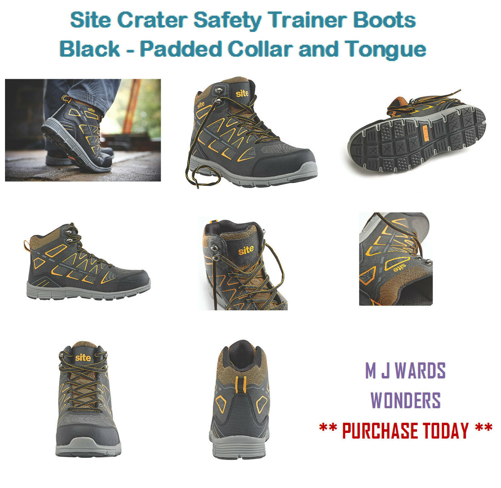 Site Crater Safety Trainer Boots Black - Padded Collar and Tongue
