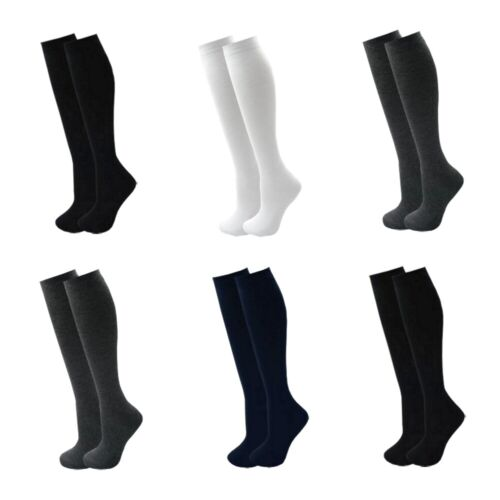 Girls Knee High School Socks Plain Lycra Black Grey Navy White 1 2 3 6 Pairs