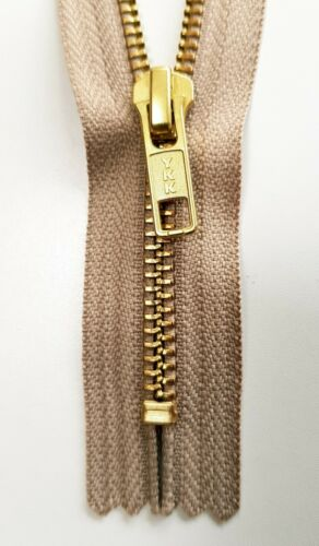 "YKK zip dorata neutro sabbia CHIUSA IN METALLO FINE 8/"" Medium Zipper Pull vestiti #5"