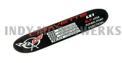 C5 Corvette Spec Data ID Metal Plate Emblem LS1 350HP 01-04
