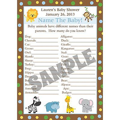 24 Personalized Baby Shower Game Cards - Name the Baby Animal Game - ZOO  ANIMALS | eBay