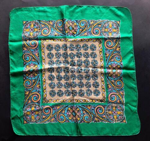VINTAGE Scarf Vintage Silk Scarf Square 1940s Scar