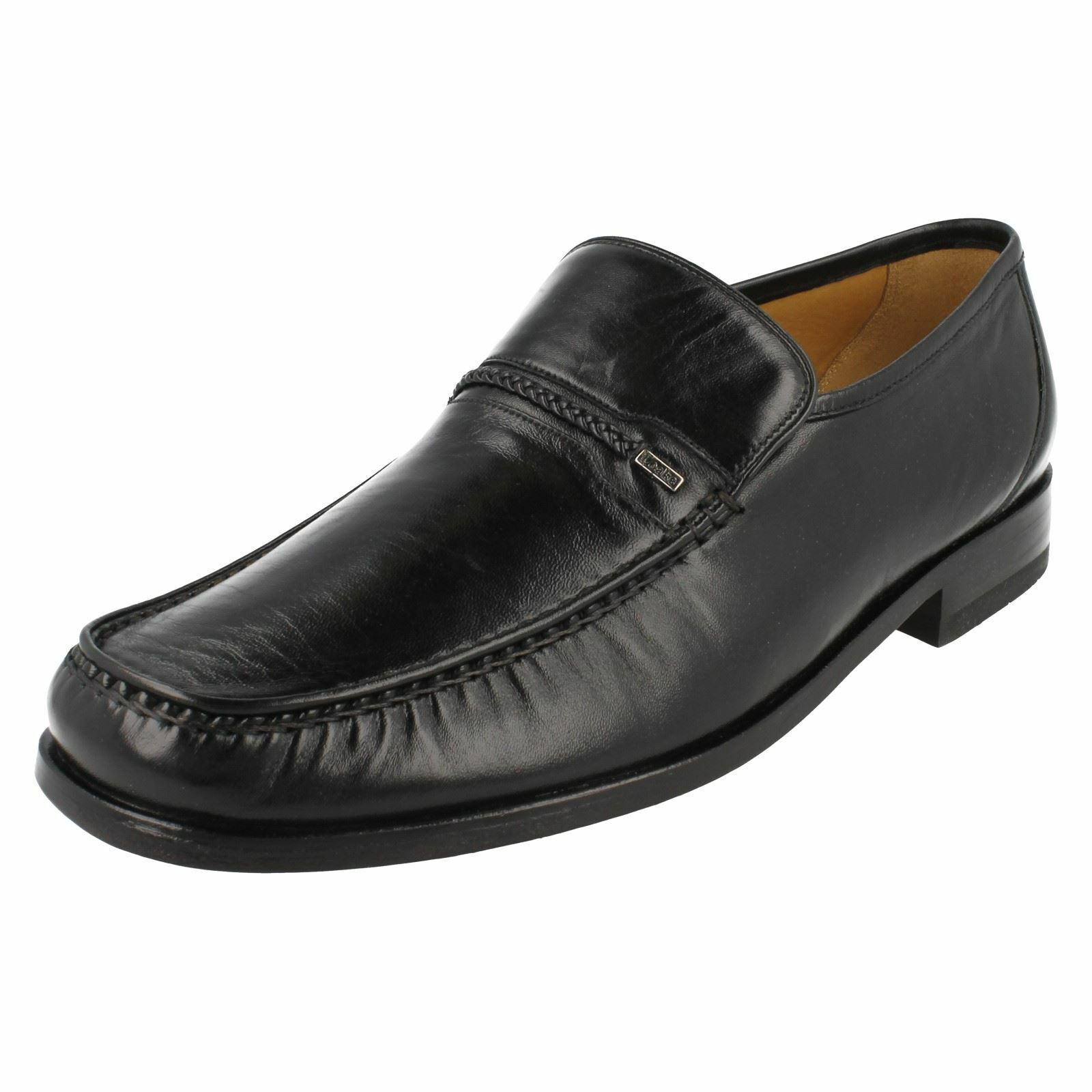 Mens Loakes Black Leather Slip On Moccasin Shoes F Fitting Reno