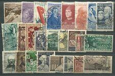 ITALIA 25 FRANCOBOLLI DIVERSI USATI PERIODO 1948 - 1955 ALTO VALORE CATALOGO