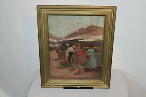 Antique-Oil-Painting-Victorian-Shoppers-At-Market-Signed-H-Harrison-Framed