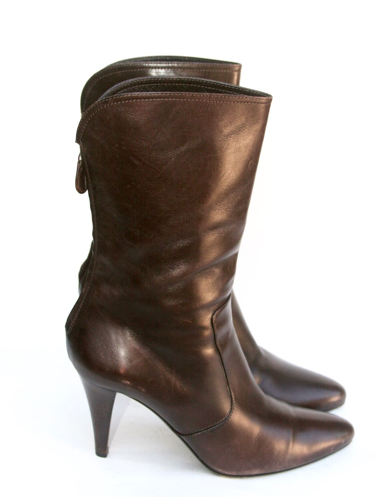 Cole Haan Women's Brown Leather Zip Up Mid Calf Ankle Boot Heel SZ 8B