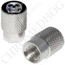 2 Silver Billet Aluminum - Tire Air Valve Stem Cap for Motorcycle - Chrome Skull