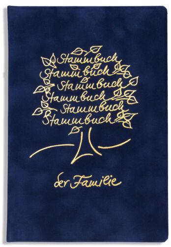 Baum Samt Goldprägung Stammbuch der Familie Bero Dunkelblau