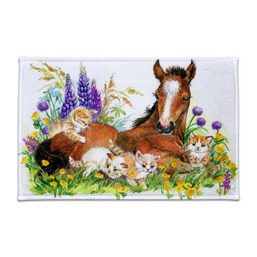 """NEW 24X16/"""" Horse and Cute Cats in Flowers Bath Mat Bathroom Floor Door Mat Rug"""