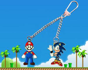 Nintendo-Super-Mario-amp-Sega-Sonic-the-Hedgehog-double-Keychain-Keyring