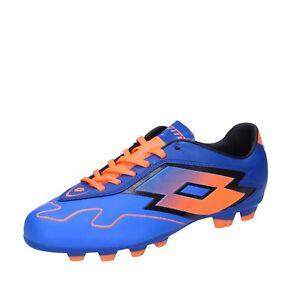 scarpe-uomo-LOTTO-46-EU-sneakers-blu-arancione-pelle-BT586-46