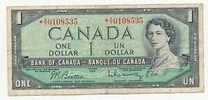 Canada-1-dollar-1954-Beattie-Rasminsky-Asterix-Free-Shipping