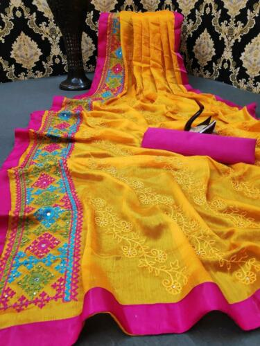 Puja Yellow Chiffon Blend Saree Kashimiri Embroidery Indian Pakistani festive