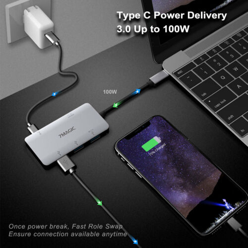 5in1 USB C HUB Type-C to 4K*2K HDMI USB3.0 Ports Adapter for MacBook Dell XPS