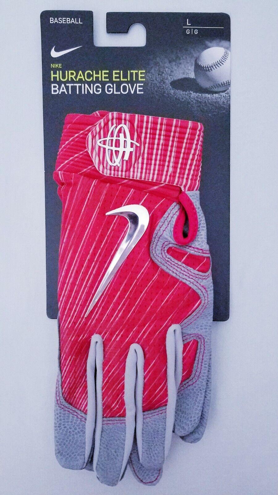 Nike Huarache Elite Baseball Batting Gloves Team Issue Ohio State Red Grey Large