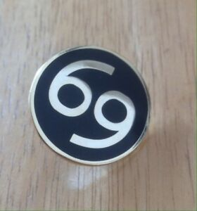Number 69 Motorcycle Biker Cafe Racer Rocker Bike Pin Badge