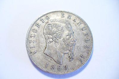 Vriendelijk Jolie Monnaie Argent 1869 Milan - Ttb+ 5 Lires - V. E . Ii - Italie Comfortabel Gevoel