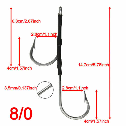 Double Assist Hook 7691S Stainless Steel Shark Rig 7//0 8//0 9//0 10//0 11//0  Lot Of