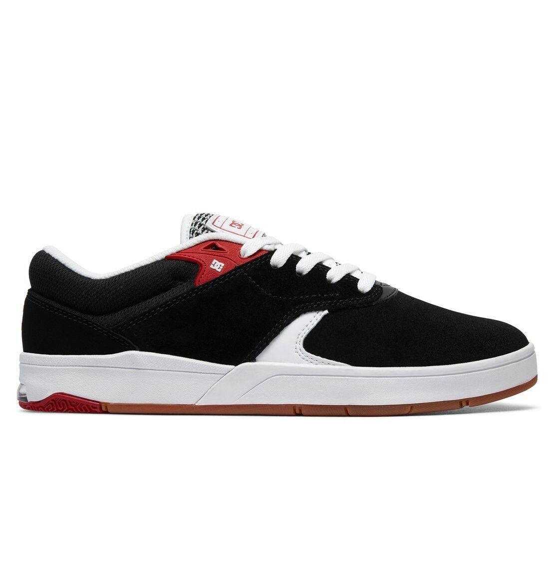 DC SHOES TIAGO S BLACK WHITE RED SKATE TRAINERS