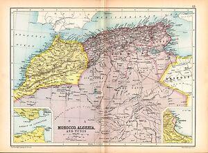 1909 MAP MOROCCO ALGERIA TUNIS TUNISIA CONSTANTINE ORAN eBay