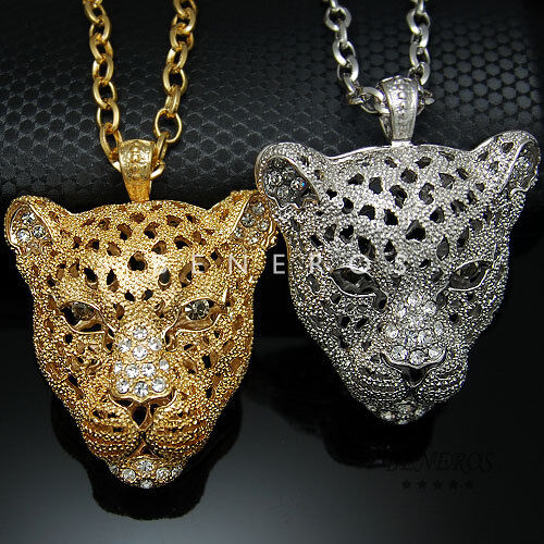 Leopard head pendant chain necklace gold silver mens animal cat leopard head pendant chain necklace gold silver mens animal cat jewelry ebay aloadofball Image collections