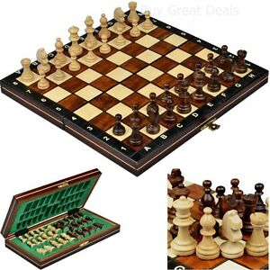 Travel chess set hand crafted vintage tournament portable for Hand crafted chess set