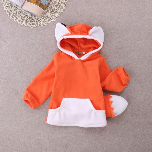 UK Cartoon Fox Baby Boys Girls Kids Coat Hoodie Jacket Sweater Pullover Outwear