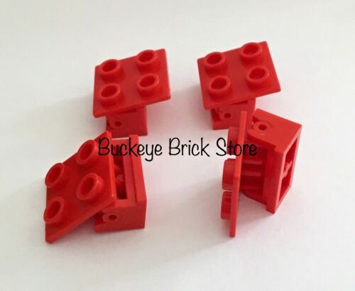 Lego RED 1x2 BRICK Hinges w// 2x2 Top Plates New /& Used Lot of 4 Hinge