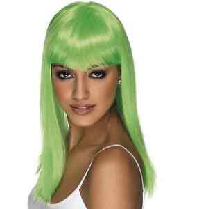 8761e69202e Image is loading Womens-Girls-Neon-Green-Glamourama-Wig-Long-Straight-