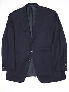 Belvest-Mens-Blazer-46R-Solid-Navy-Blue-3-Button-Brass-Enamel-Wool-Sport-Coat
