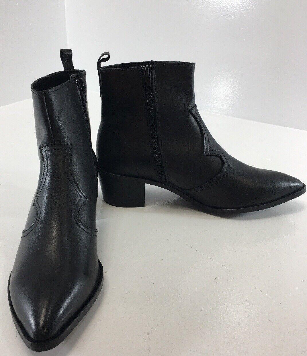 Depp Cuero Para Mujer botas al tobillo con cremallera lateral Color Negro Talla US 10 UK 8 Nuevo