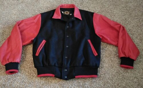 Vintage Dehen Mens Letterman Jacket Wool Leather R