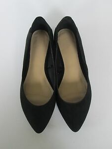 Forever 21 Womens Black Faux Suede Leather Pointed Toe Flats Shoes ... e04c167b59