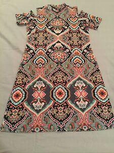 Violet-b-Stretch-Jersey-Floral-Print-Open-Shoulder-Pullover-Dress-Size-Medium