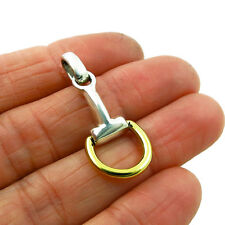 Horsebit 925 Sterling Silver and Brass Snaffle Riding Bit Tack Pendant