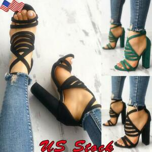 US-Womens-Buckle-Block-High-Heels-Sandals-Ladies-Open-Toe-Ankle-Strap-Shoes-Size