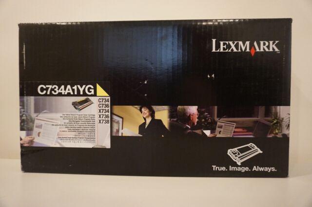 Genuine Lexmark C734A1YG Yellow Toner Cartridge C734 C736 X734 X736 X738