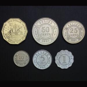 Belize-Set-6-Coins-1-5-10-25-50-Cents-1-Dollar-1991-2007-UNC