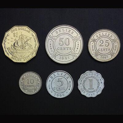 Belize Set 6 Coins 1 Dollar UNC 1 5 10 25 50 Cents 1991-2007